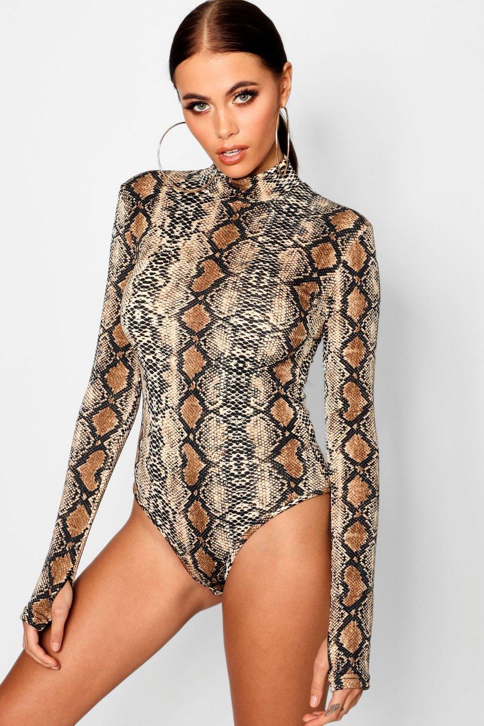 Snake Print Long Sleeve Bodysuit  6dc7cf5aa