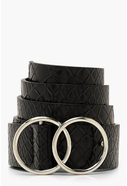 Womens Black Croc Double Ring Boyfriend Belt