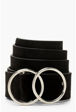 Womens Black Suedette Double Ring Boyfriend Belt