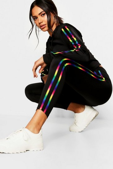Womens Black Fit Rainbow Side Stripe Leggings