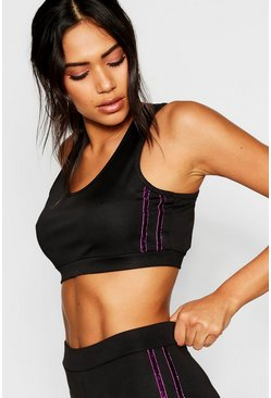 Womens Black Fit Glitter Side Stripe Scoop Sports Bra