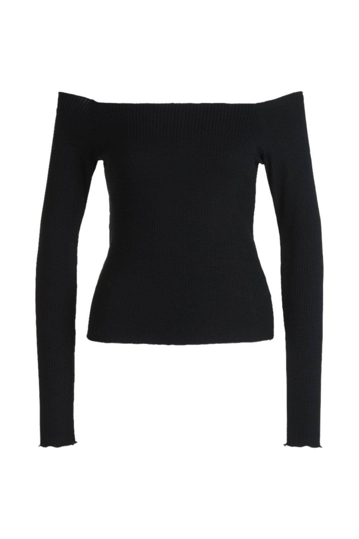 Sleeve Bardot T Long Shirt black rAr4Y5xn
