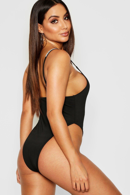 Strap black Strap Diamante Diamante Diamante Bodysuit Strap black Bodysuit 1q4cYyvAS