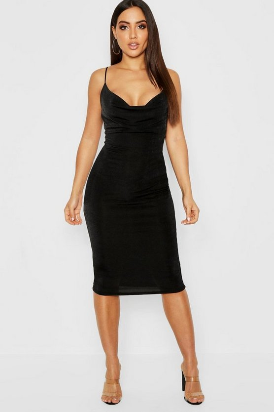 Womens Skinny Cowl Neck Midi Dress