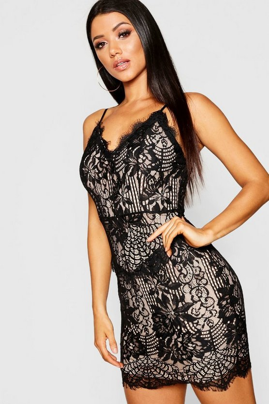 Eyelash Lace Strappy Bodycon Dress