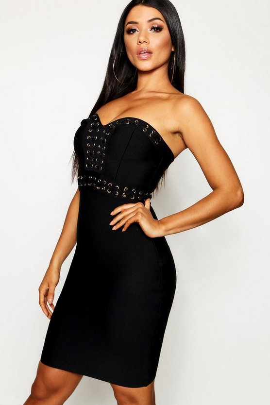 Womens Black Bandeau Eyelet Detail Bandage Bodycon Dress