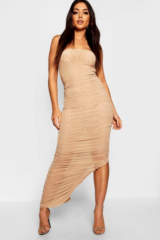 Womens Beige Ruched Front Detail Maxi Dress