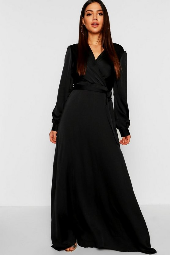 Satin Belted Wrap Maxi Dress