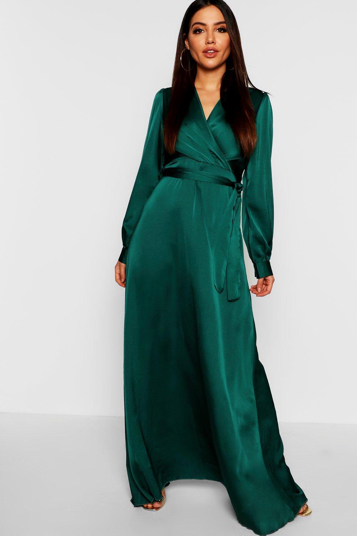 1960s – 70s Cocktail, Party, Prom, Evening Dresses Satin Belted Wrap Maxi Dress  AT vintagedancer.com