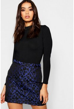 Navy Leopard Woven Jacquard Mini Skirt