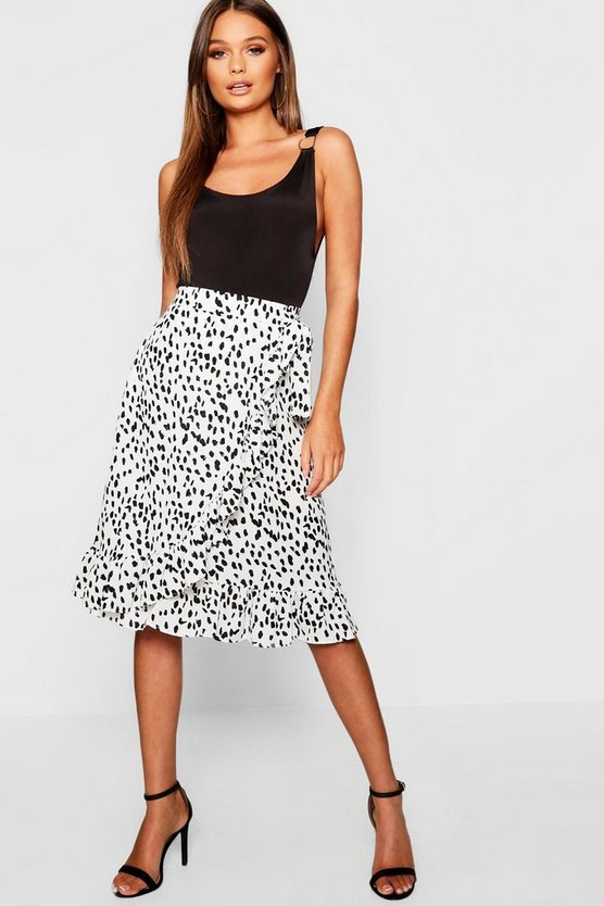 Dalmation Spot Wrap Midi Skirt
