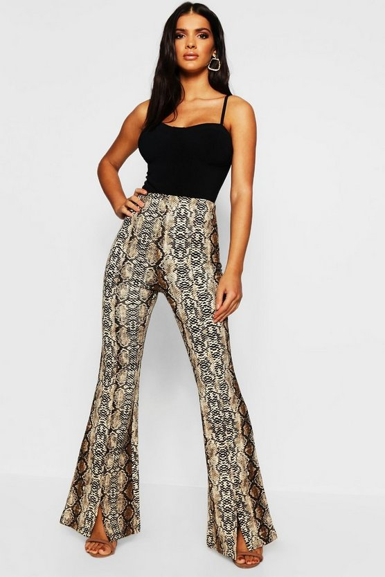 Womens Taupe Snake Print Flares