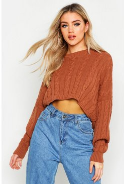 Dam Butterscotch Box Cropped Knitted Cable Jumper