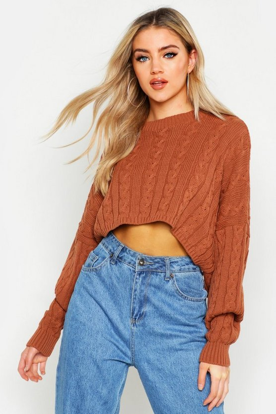 Box Cropped Knitted Cable Jumper