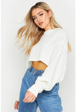 Womens Cream Box Cropped Knitted Cable Jumper