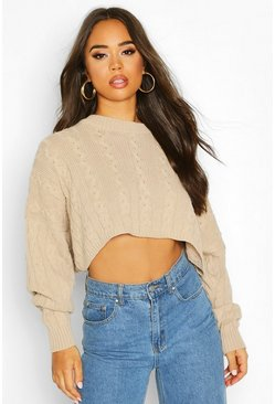 Womens Stone Box Cropped Knitted Cable Jumper
