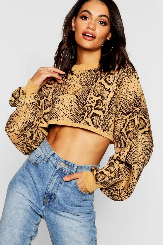 Snake Box Crop Knitted Jumper