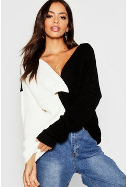 Black Knitted Colour Block Twist Front Sweater