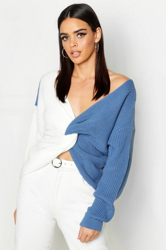 Womens Denim Knitted Colour Block Twist Front Jumper