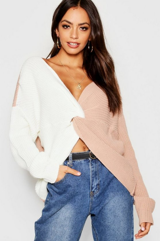 Womens Nude Knitted Colour Block Twist Front Jumper
