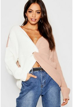 Womens Nude Knitted Colour Block Twist Front Sweater