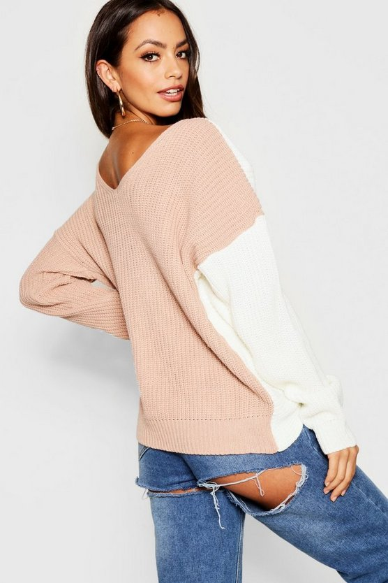 Knitted Colour Block Twist Front Jumper