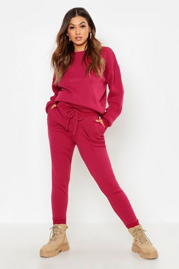 Womens Dusky pink Crew Neck Heavy Knitted Lounge Set