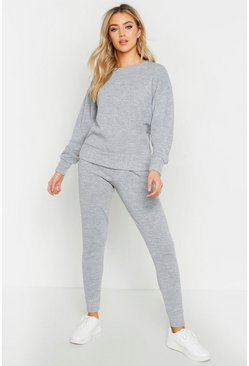 Womens Grey marl Crew Neck Heavy Knitted Lounge Set