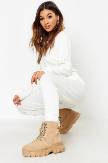 Womens Ivory Crew Neck Heavy Knitted Lounge Set