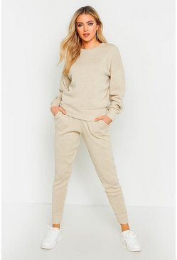 Crew Neck Heavy Knitted Lounge Set, Stone, Donna