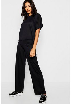 Womens Black Boxy Top And Wide Leg Trouser Knitted Lounge Set