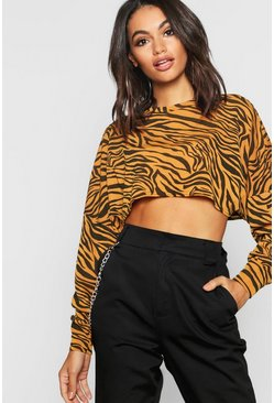 Womens Mustard Knitted Batwing Boxy Crop Top Zebra Animal Print