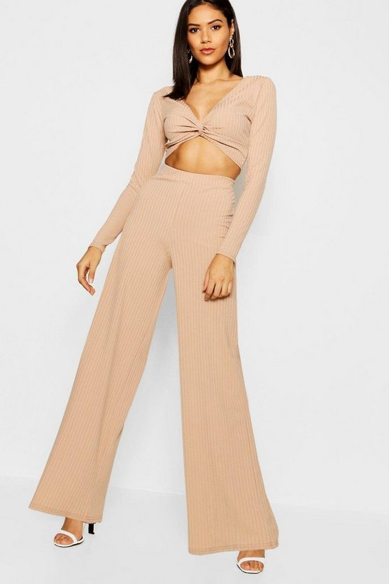 Twist Front Wide Leg Rib Knit Co-ord