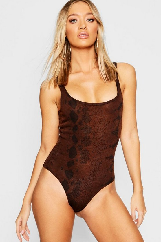 Womens Chocolate Snake Print Scoop Neck Knitted Bodysuit