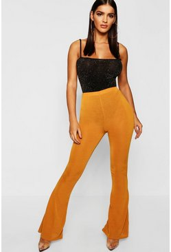 Womens Mustard Knitted Flare Trouser