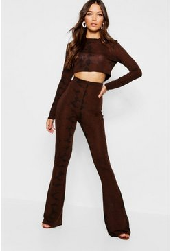 Womens Chocolate Knitted Snake Print Trouser Set
