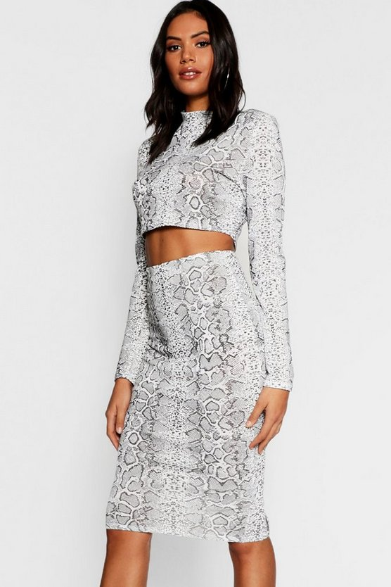 Snake Print Knitted Crop Midi Skirt Co-ord