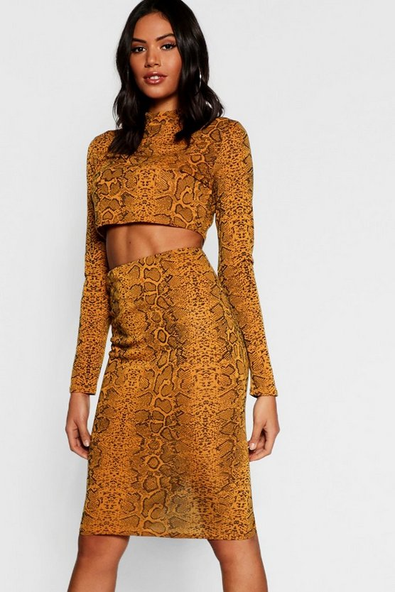 Womens Yellow Snake Print Knitted Crop Midi Skirt Co-ord