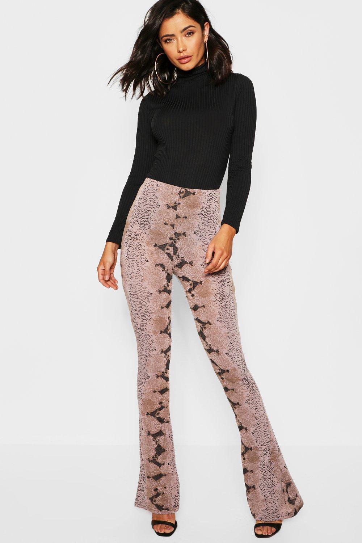 473e774a0f Knitted Snake Print Flared Trouser   Boohoo