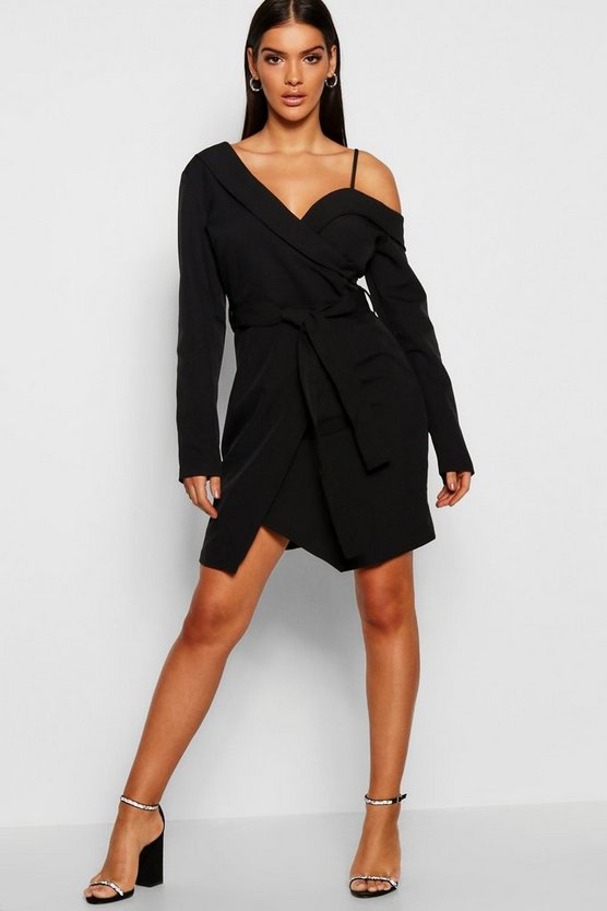 Womens Off The Shoulder Tailored Mini Dress