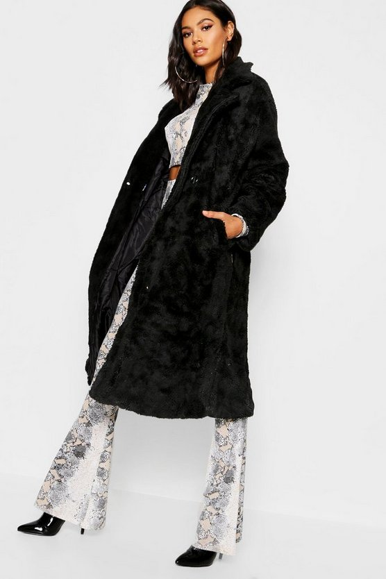 Womens Black Collared Longline Faux Fur Coat