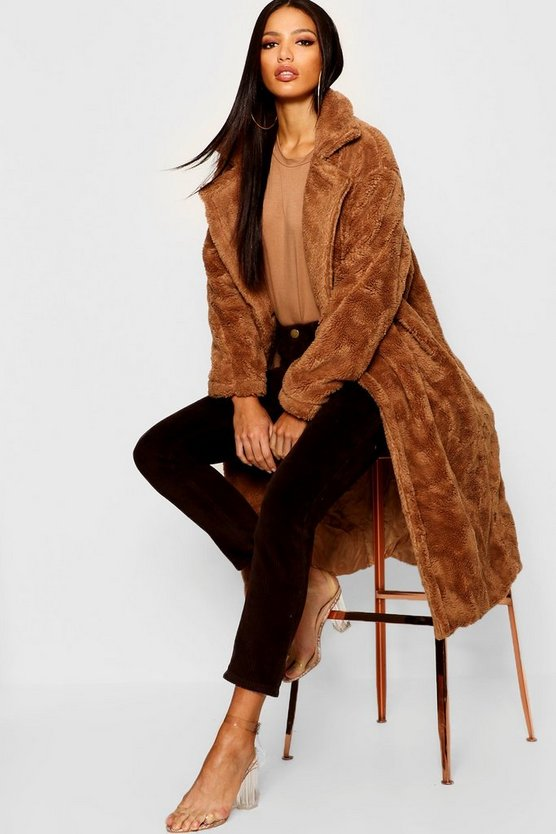 Collared Longline Faux Fur Coat