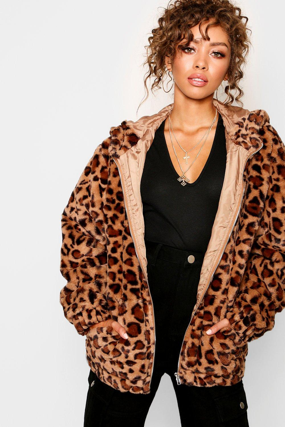 247cf4ce68 Womens Taupe Hooded Leopard Faux Fur Coat. Hover to zoom