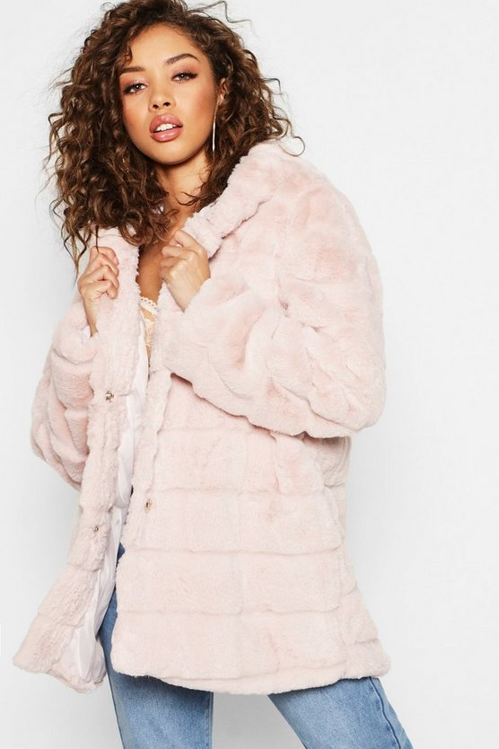 Hooded Panelled Faux Fur Coat