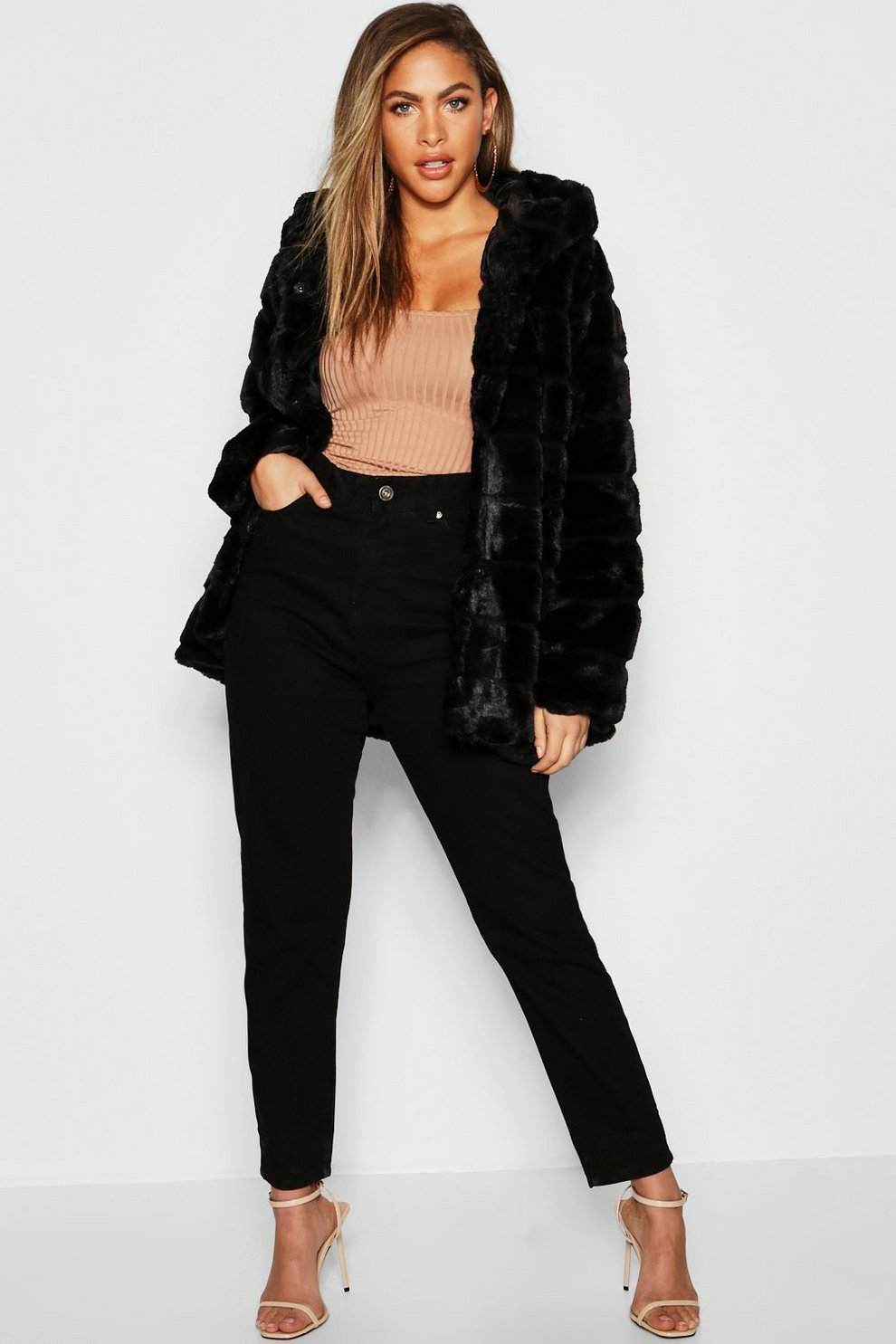 52b7713809ed Hooded Panelled Faux Fur Coat | Boohoo