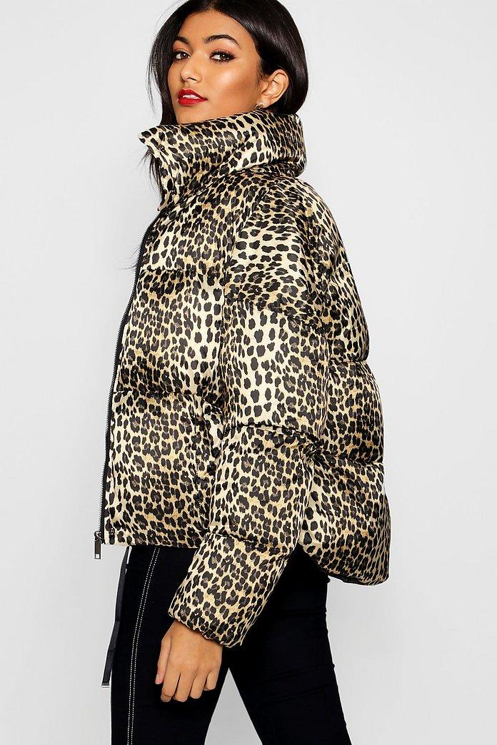 5cb65c0dc102 Leopard Print Puffer Coat   Boohoo