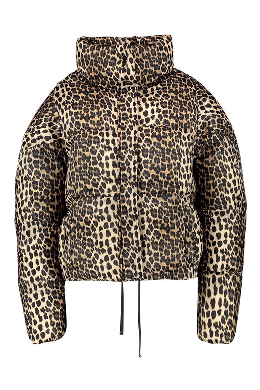 con acolchado de Abrigo gris piedra estampado leopardo B5q7qxSw8