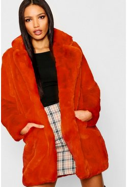 Womens Burnt orange Boutique Faux Fur Coat