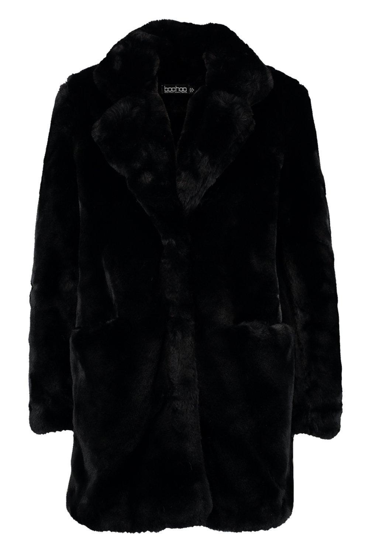 piel en Abrigo Boutique sintética negro 51ww4xqRY