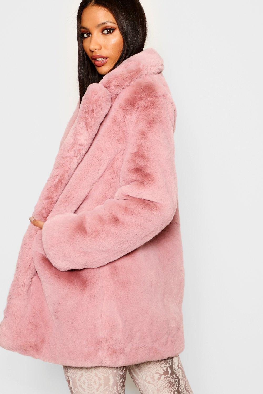 en Abrigo rosa pálido sintética Boutique piel ATcaUaq1g